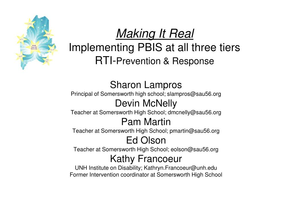 making it real implementing pbis at all three tiers rti prevention response l.