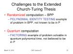 challenges to the extended church turing thesis
