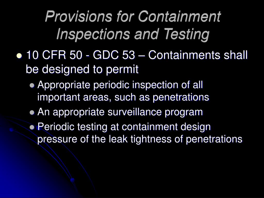Provisions for Containment Inspections and Testing