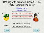 dealing with proofs in covert two party computation ahl05