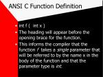ansi c function definition