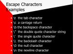 escape characters examples