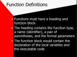 function definitions