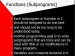 functions subprograms