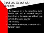 input and output with variables