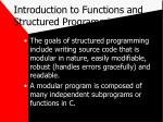 introduction to functions and structured programming