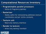 computational resources inventory