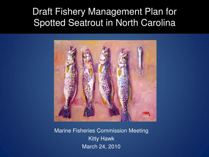draft fishery management plan for spotted seatrout in north carolina n.