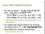 high rank implies balance