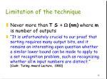 limitation of the technique