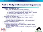 point to multipoint computation requirements