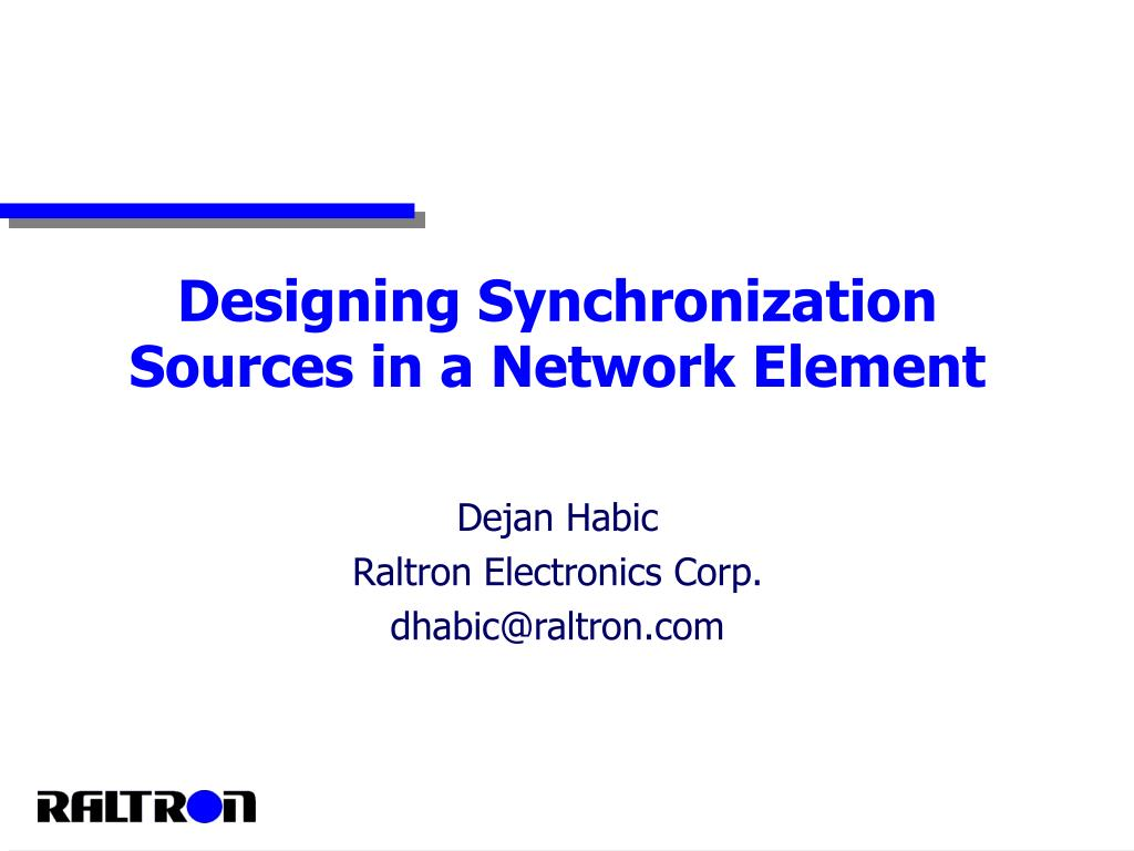 designing synchronization sources in a network element l.