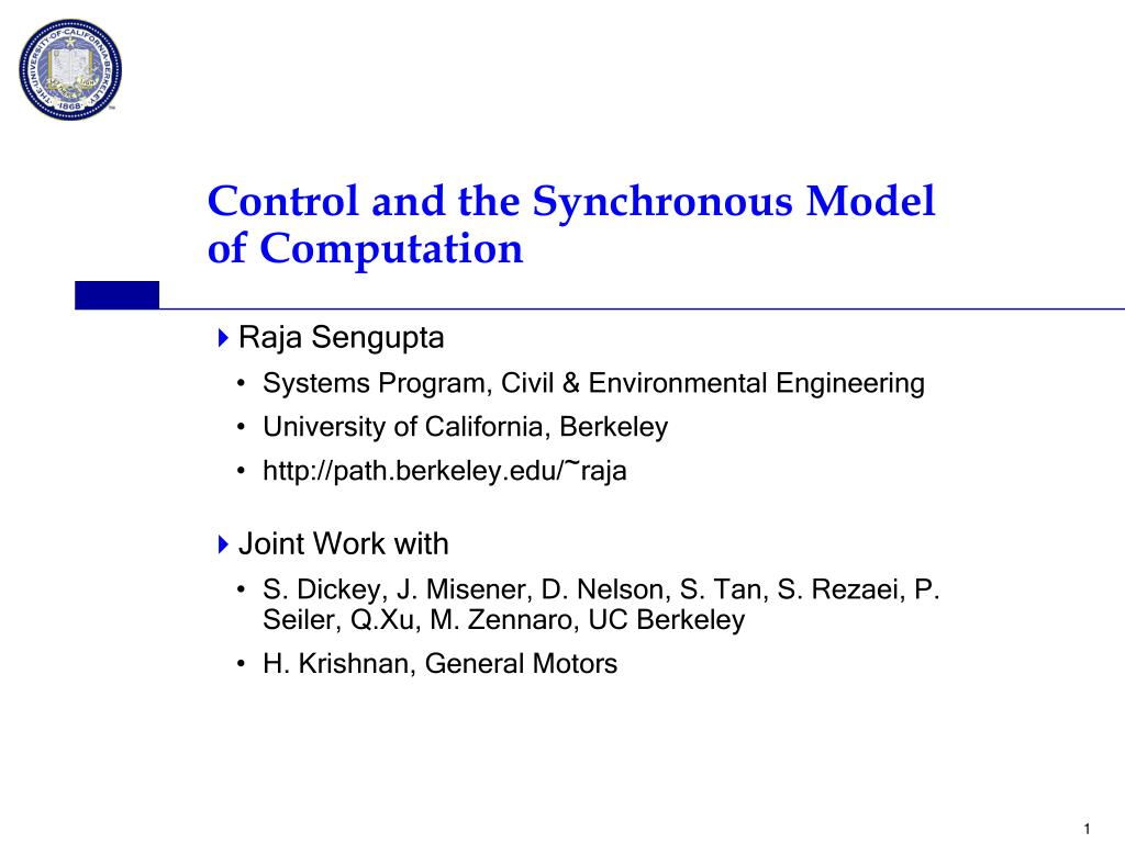 control and the synchronous model of computation l.