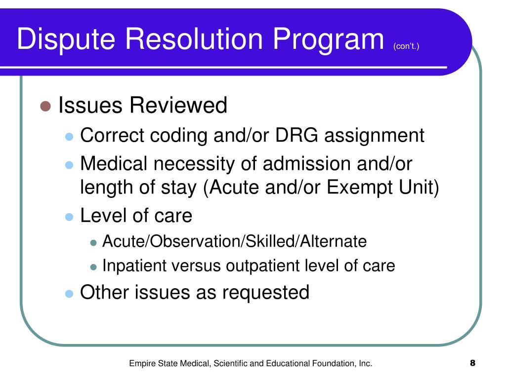 Dispute Resolution Program