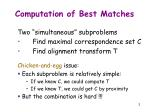 computation of best matches