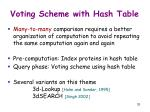 voting scheme with hash table