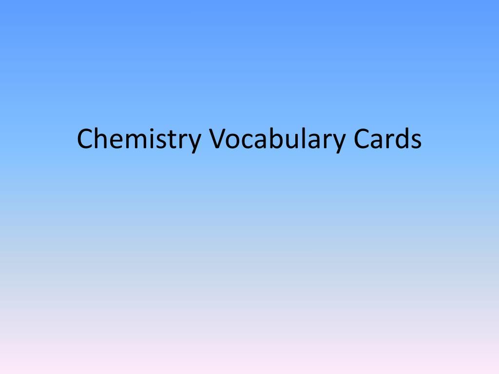 chemistry vocabulary cards l.