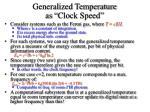 generalized temperature as clock speed