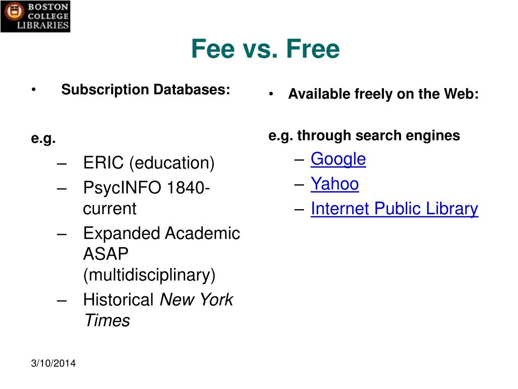 Subscription Databases: