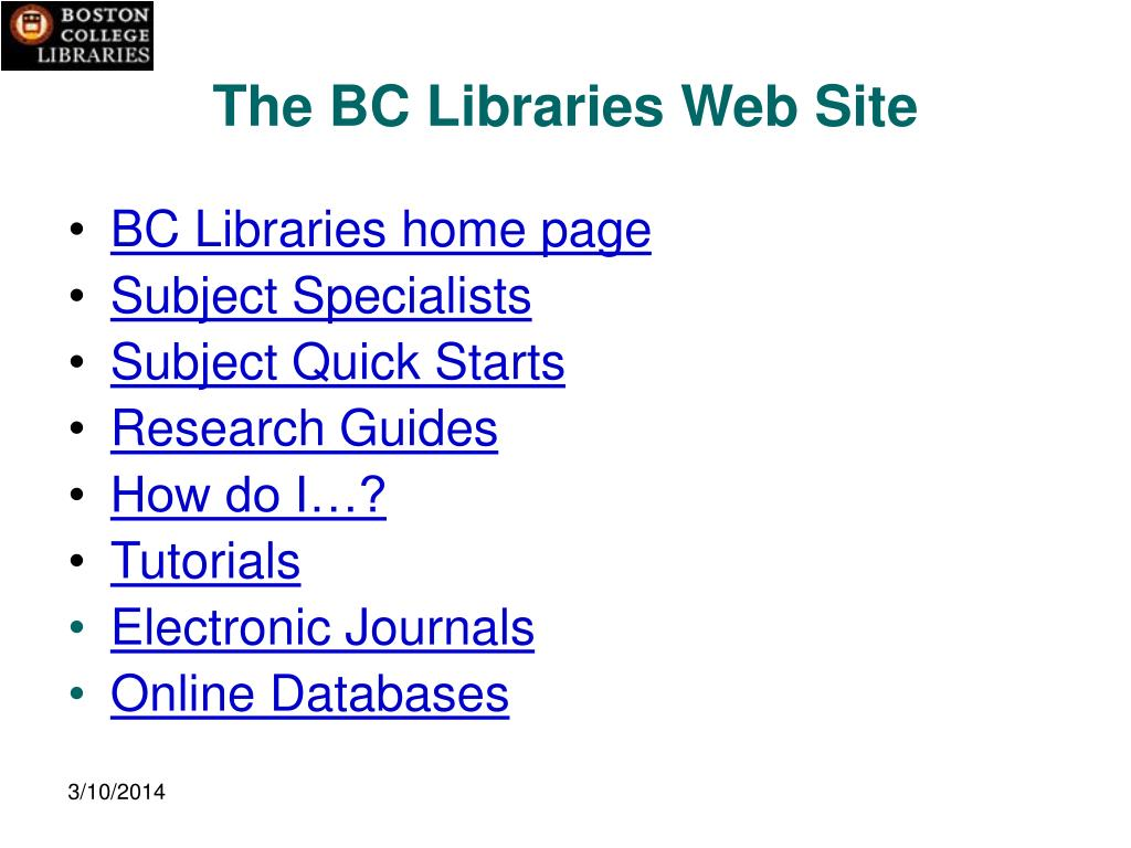 The BC Libraries Web Site