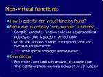 non virtual functions