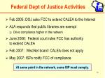 federal dept of justice activities