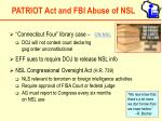 patriot act and fbi abuse of nsl