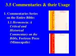 3 5 commentaries their usage