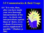 3 5 commentaries their usage45