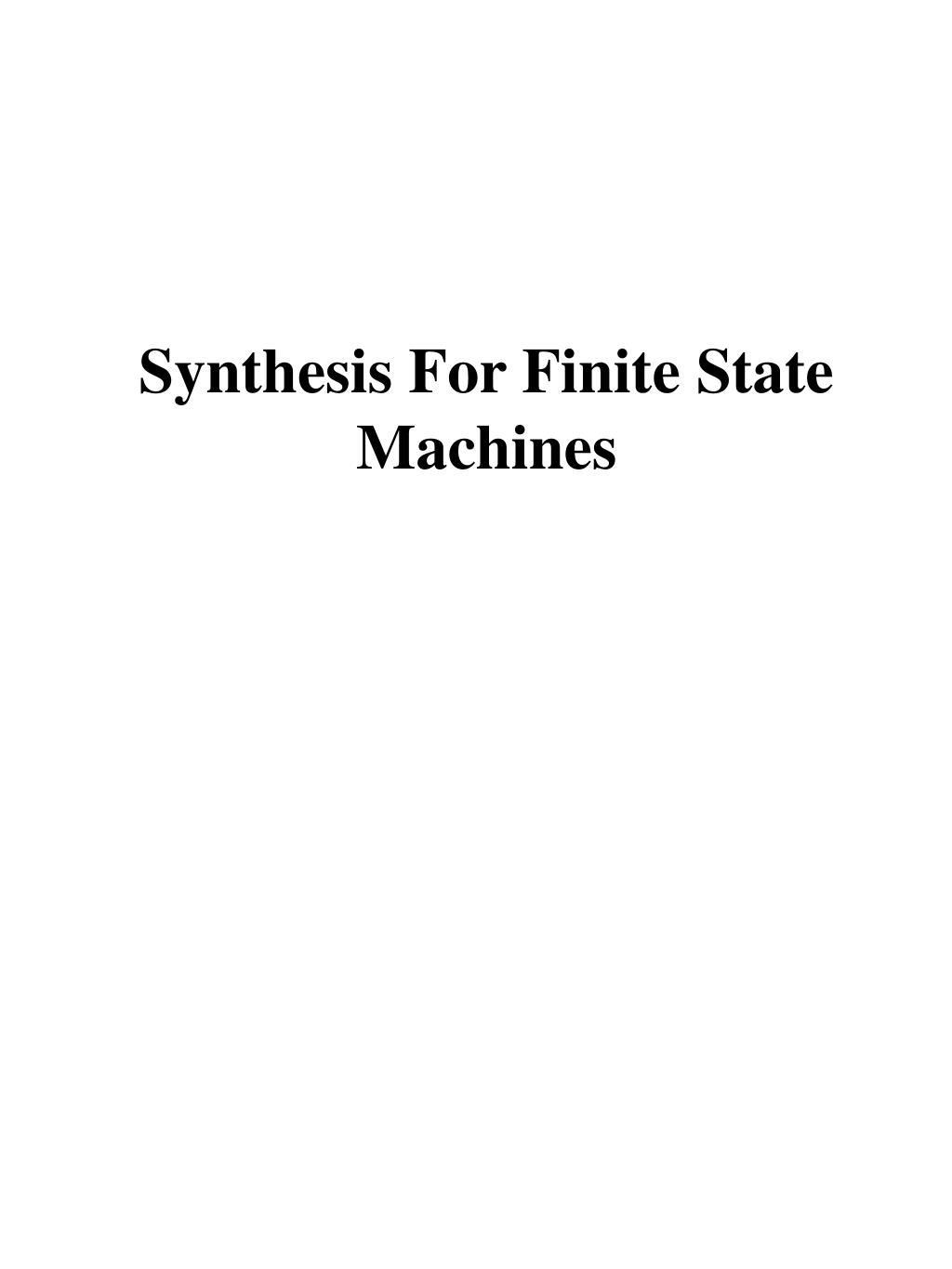 synthesis for finite state machines l.