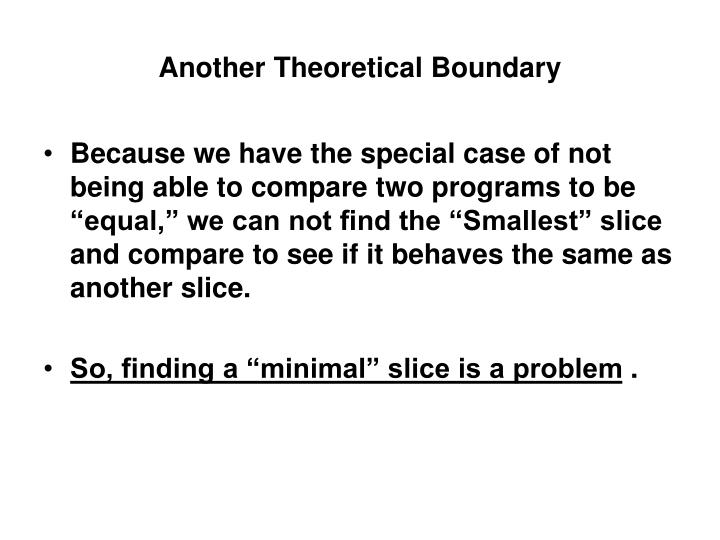 Another Theoretical Boundary