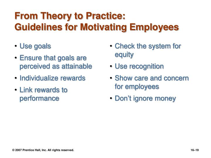 motivation theory and practice Motivation - theory and practice prepared by: jim lopresti university of colorado, boulder published by: john wiley & sons, inc planning ahead — chapter 14 study questions  how do individual needs influence motivation  what are the process theories of motivation  what role.
