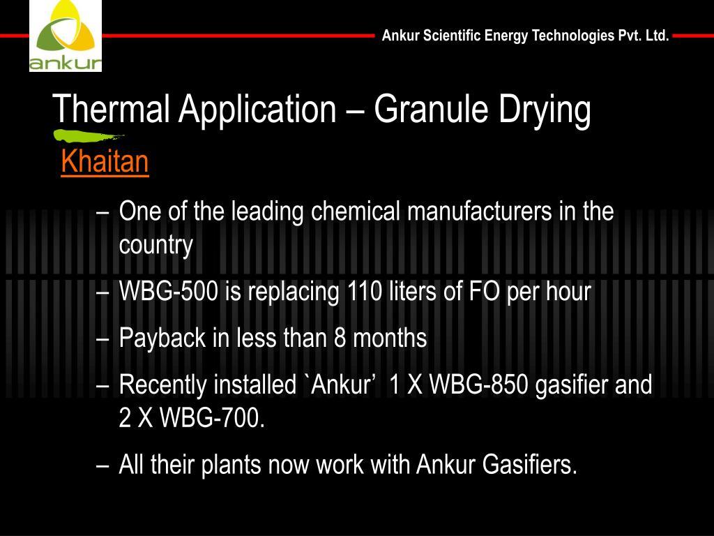 Thermal Application – Granule Drying