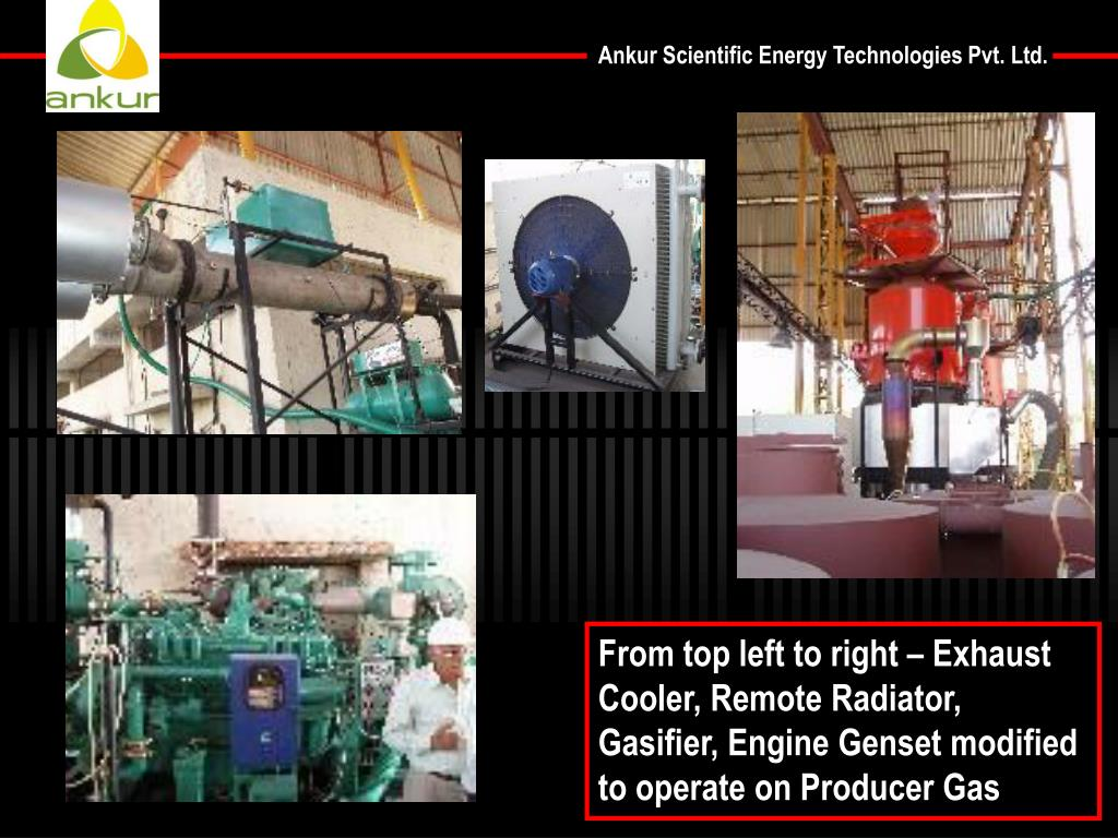 From top left to right – Exhaust Cooler, Remote Radiator, Gasifier, Engine Genset modified to operate on Producer Gas