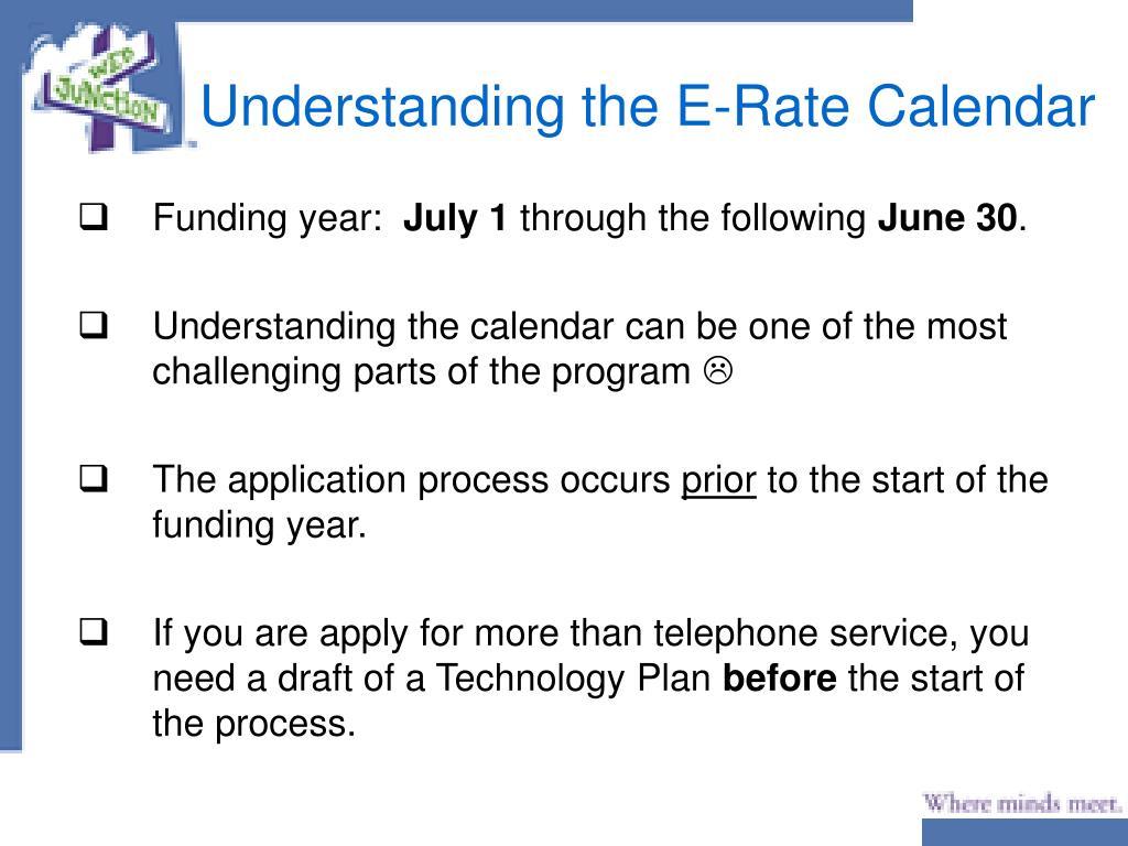 Understanding the E-Rate Calendar