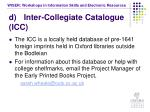 d inter collegiate catalogue icc