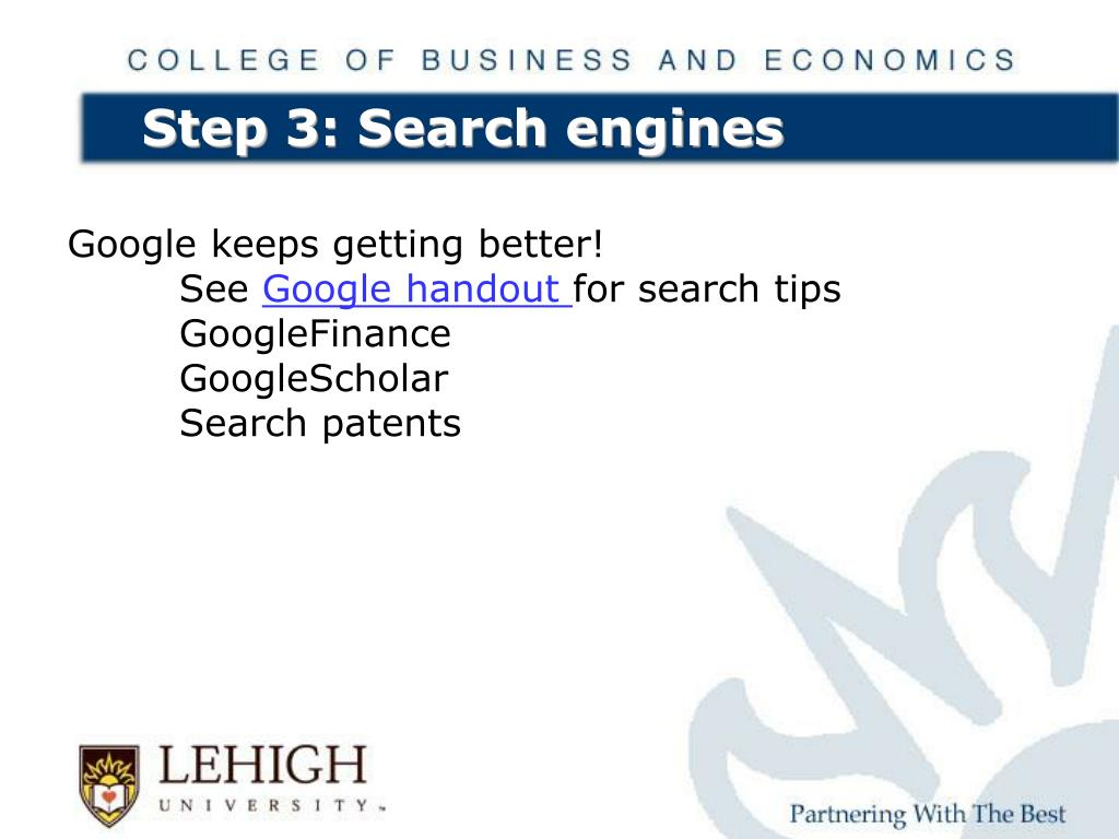 Step 3: Search engines