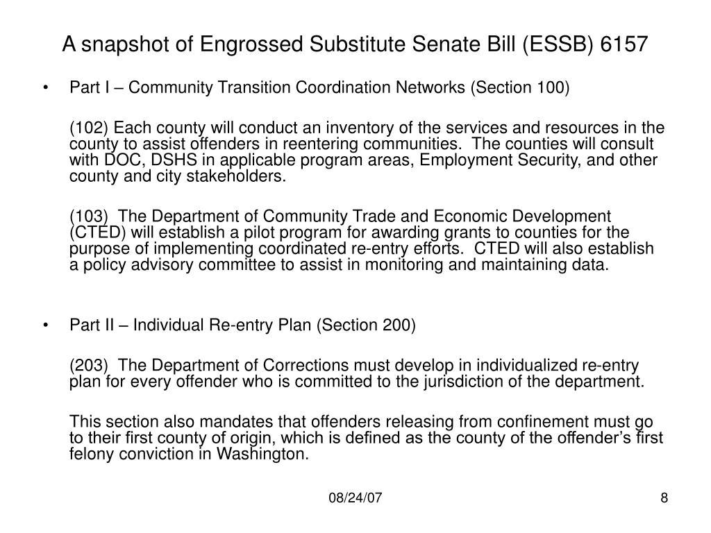 A snapshot of Engrossed Substitute Senate Bill (ESSB) 6157