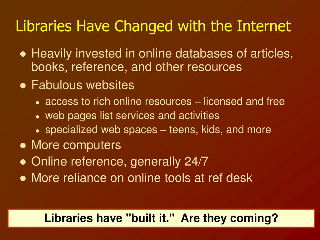 Libraries Have Changed with the Internet