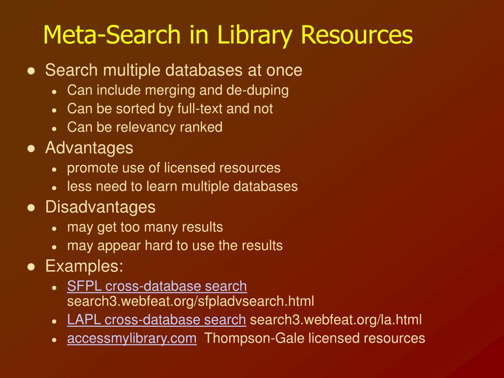 Meta-Search in Library Resources