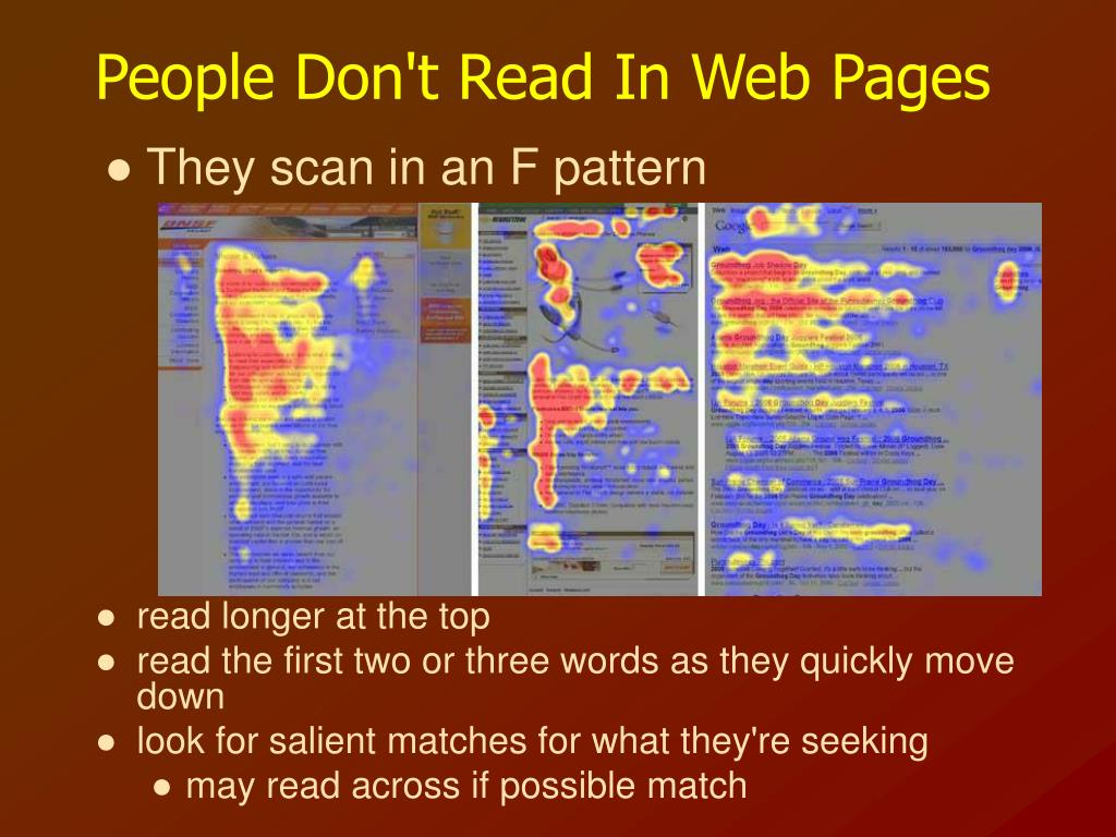 People Don't Read In Web Pages