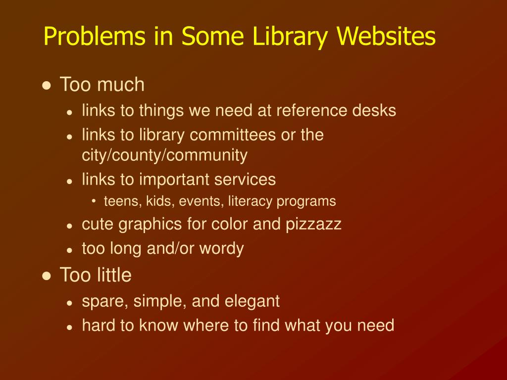 Problems in Some Library Websites