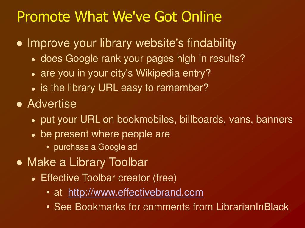Promote What We've Got Online