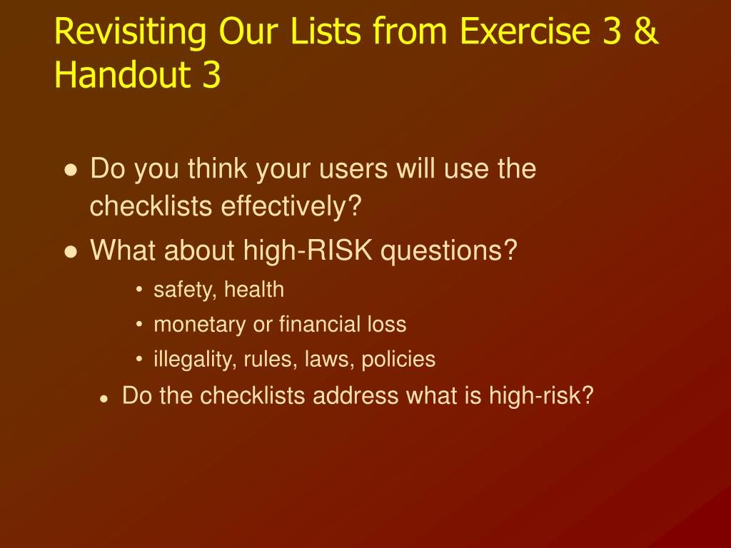 Revisiting Our Lists from Exercise 3 & Handout 3