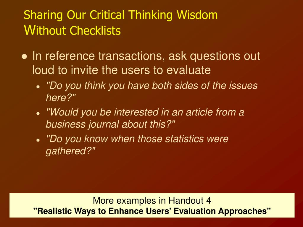 Sharing Our Critical Thinking Wisdom