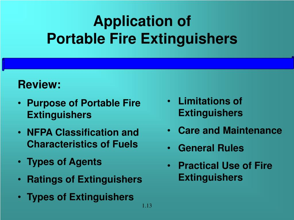 Application of                        Portable Fire Extinguishers