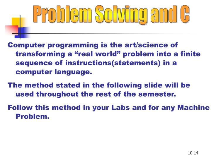 Problem Solving and C