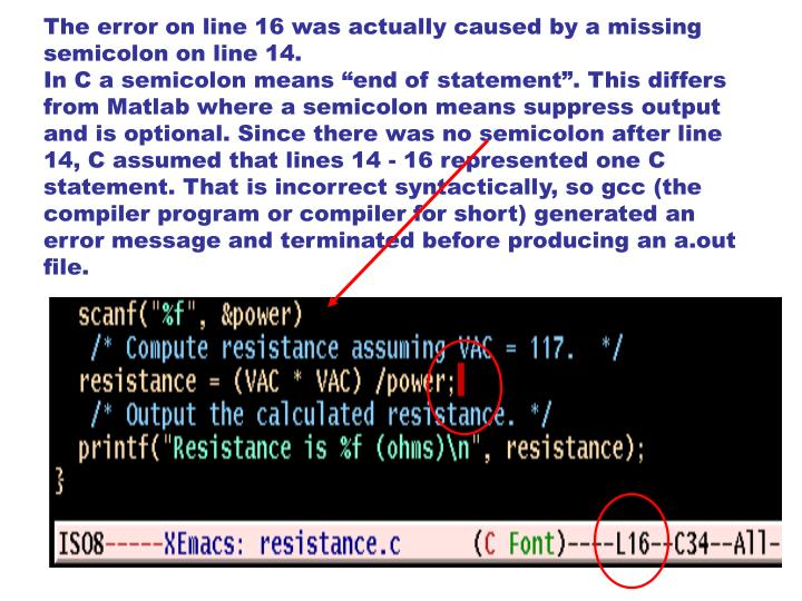 The error on line 16 was actually caused by a missing semicolon on line 14.