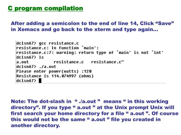 C program compilation