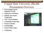 coppin state university ehealth presentation overview
